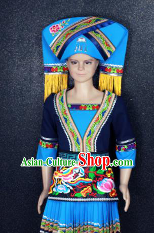 Chinese Traditional Zhuang Nationality Blue Embroidered Clothing Ethnic Folk Dance Costume for Kids