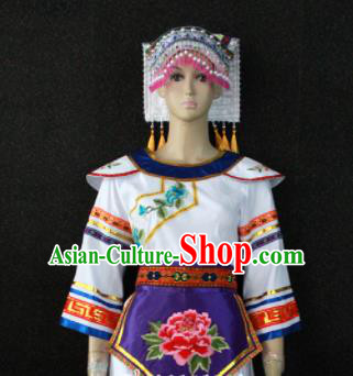 Chinese Traditional Zhuang Nationality Embroidered White Dress Ethnic Folk Dance Costume for Women
