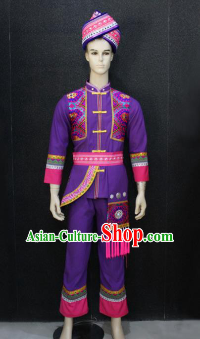 Chinese Traditional Zhuang Nationality Purple Clothing Ethnic Festival Folk Dance Costume for Men