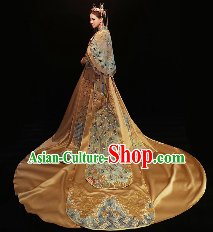 Chinese Traditional Bride Costume Golden Xiuhe Suit Ancient Wedding Embroidered Trailing Dress for Women