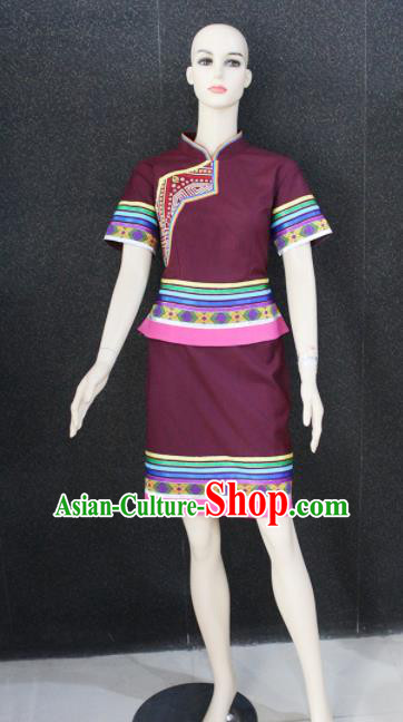Chinese Traditional Zhuang Nationality Dress Ethnic Folk Dance Costume for Women