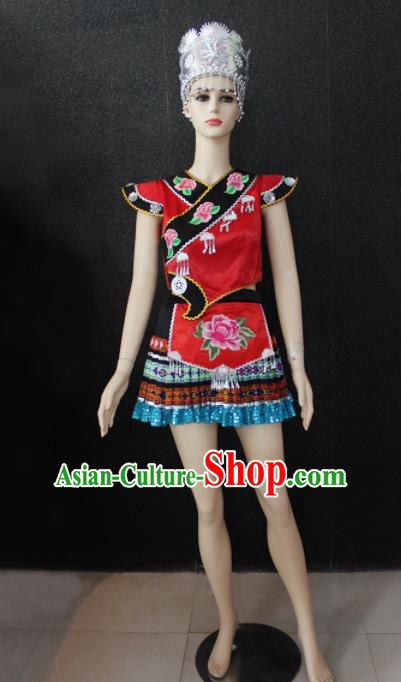 Chinese Traditional Zhuang Nationality Embroidered Red Dress Ethnic Folk Dance Costume for Women