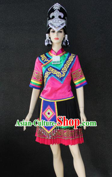 Chinese Traditional Yi Nationality Female Rosy Dress Ethnic Folk Dance Costume for Women