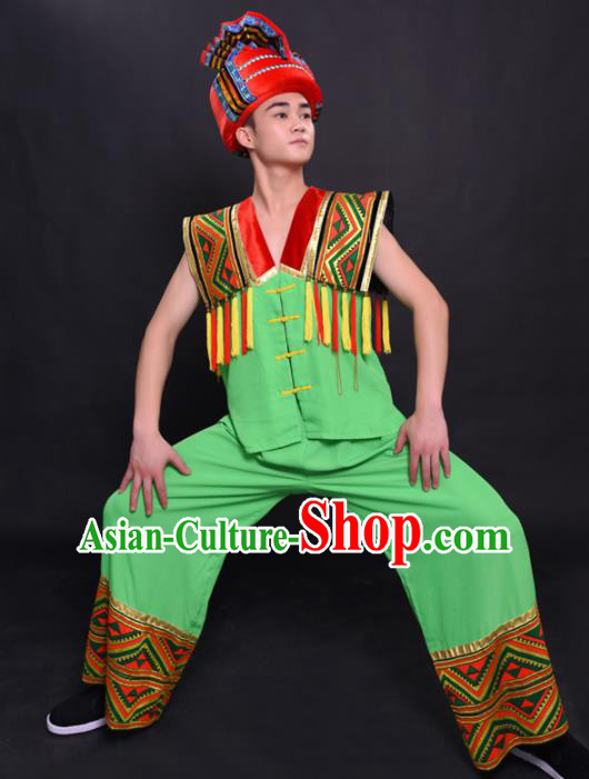 Chinese Traditional Ethnic Green Costume Miao Nationality Festival Folk Dance Clothing for Men