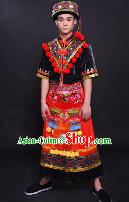 Chinese Traditional Ethnic Bridegroom Costume Yao Nationality Festival Folk Dance Clothing for Men