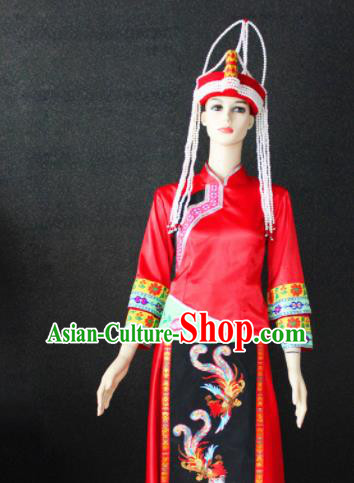 Chinese Traditional She Nationality Female Red Dress Ethnic Folk Dance Costume for Women