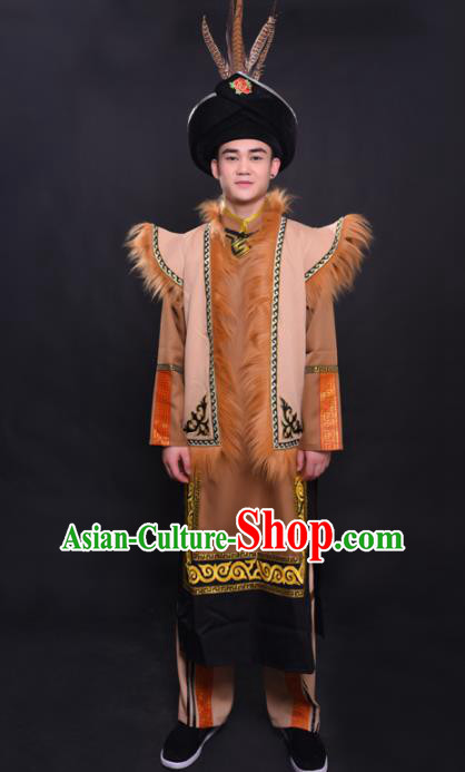 Chinese Traditional Ethnic Prince Costume Qiang Nationality Festival Folk Dance Clothing for Men