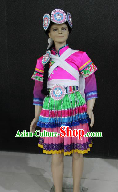 Chinese Traditional Naxi Nationality Embroidered Rosy Dress Ethnic Folk Dance Costume for Women