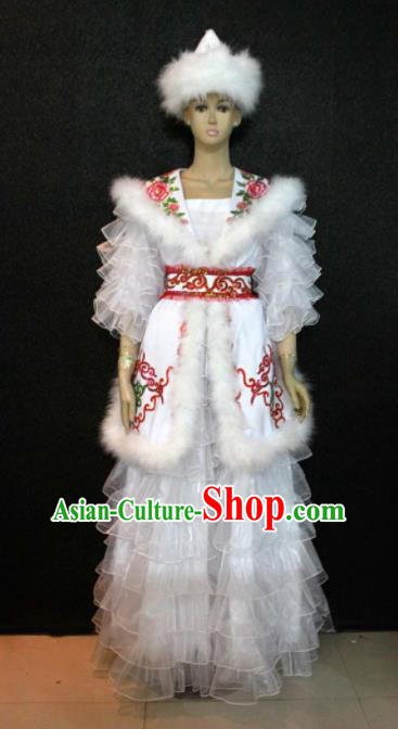 Chinese Traditional Kazak Nationality White Veil Dress Ethnic Bride Folk Dance Costume for Women