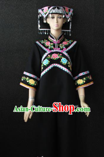 Chinese Traditional Buyei Nationality Black Dress Ethnic Bride Folk Dance Costume for Women