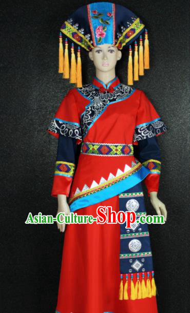 Chinese Traditional Zhuang Nationality Red Dress Ethnic Bride Folk Dance Costume for Women