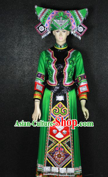Chinese Traditional Zhuang Nationality Green Dress Ethnic Bride Folk Dance Costume for Women