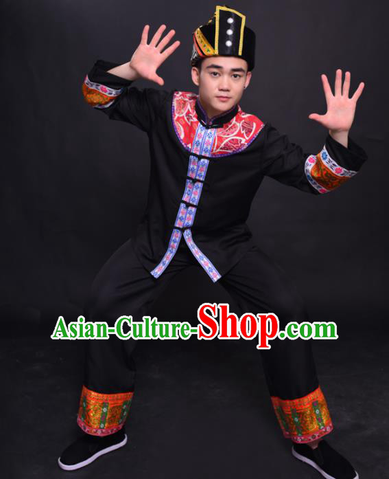 Chinese Traditional Ethnic Black Costume Mulao Nationality Festival Folk Dance Clothing for Men