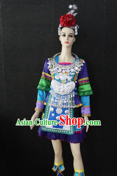 Chinese Traditional Dong Nationality Purple Dress Ethnic Folk Dance Costume for Women