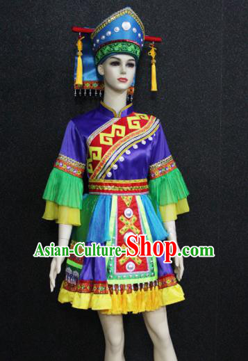 Chinese Traditional Mulao Nationality Purple Dress Ethnic Folk Dance Costume for Women
