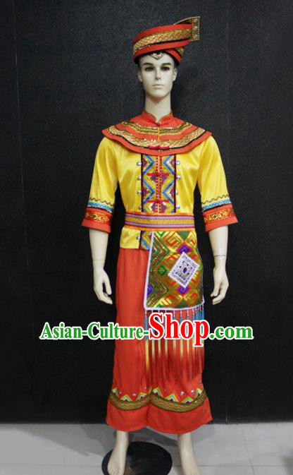 Chinese Traditional Ethnic Bridegroom Folk Dance Costume Zhuang Nationality Festival Clothing for Men