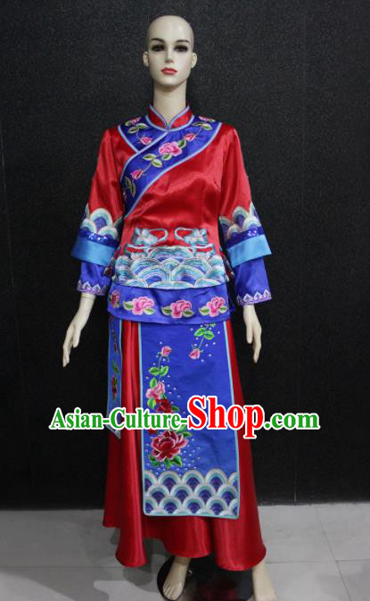 Chinese Traditional Minority Nationality Wedding Red Dress Ethnic Folk Dance Costume for Women