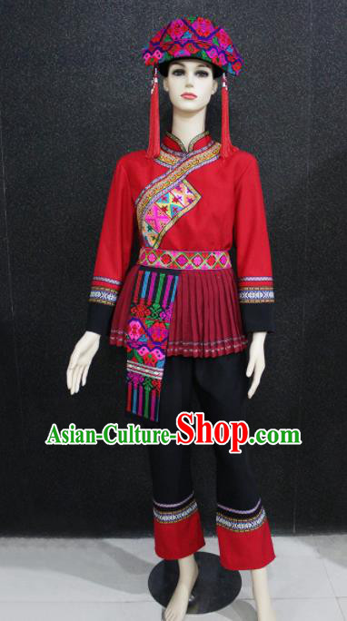 Chinese Traditional Yao Nationality Red Clothing Ethnic Folk Dance Costume for Women