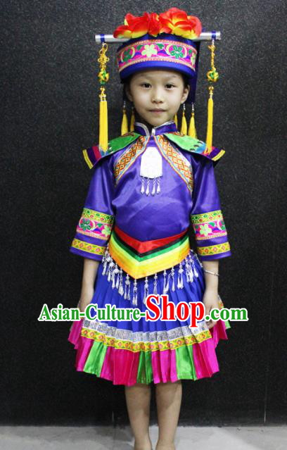 Chinese Traditional Folk Dance Costume Mulao Nationality Ethnic Dress for Kids