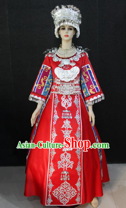 Chinese Traditional Miao Nationality Wedding Red Dress Ethnic Folk Dance Costume for Women