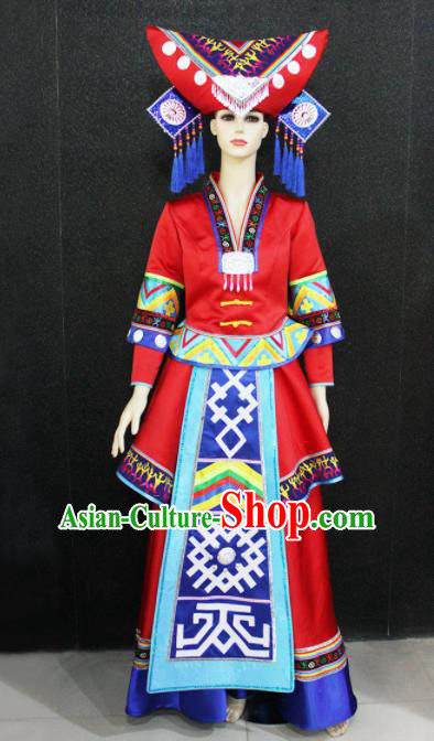 Chinese Traditional Zhuang Nationality Wedding Red Dress Ethnic Folk Dance Costume for Women