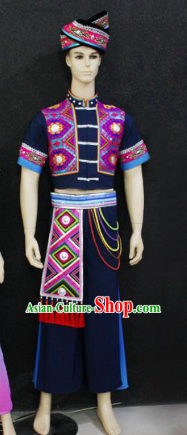 Chinese Traditional Ethnic Folk Dance Navy Costume Zhuang Nationality Festival Clothing for Men