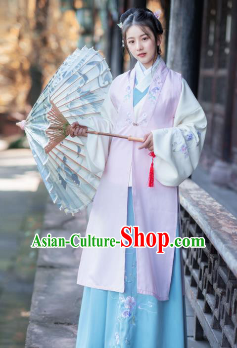 Chinese Ancient Winter Hanfu Dress Traditional Ming Dynasty Nobility Lady Historical Costume for Women