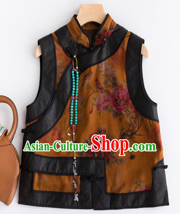 Traditional Chinese National Costume Tang Suit Watered Gauze Waistcoat for Women