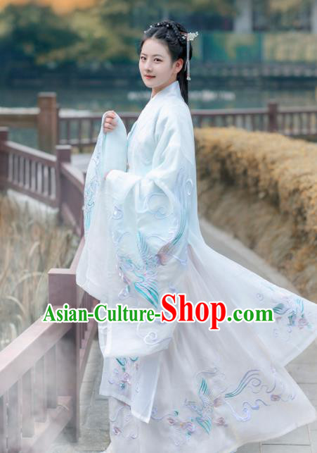 Chinese Traditional Embroidered Hanfu Dress Ancient Ming Dynasty Imperial Concubine Historical Costume for Women