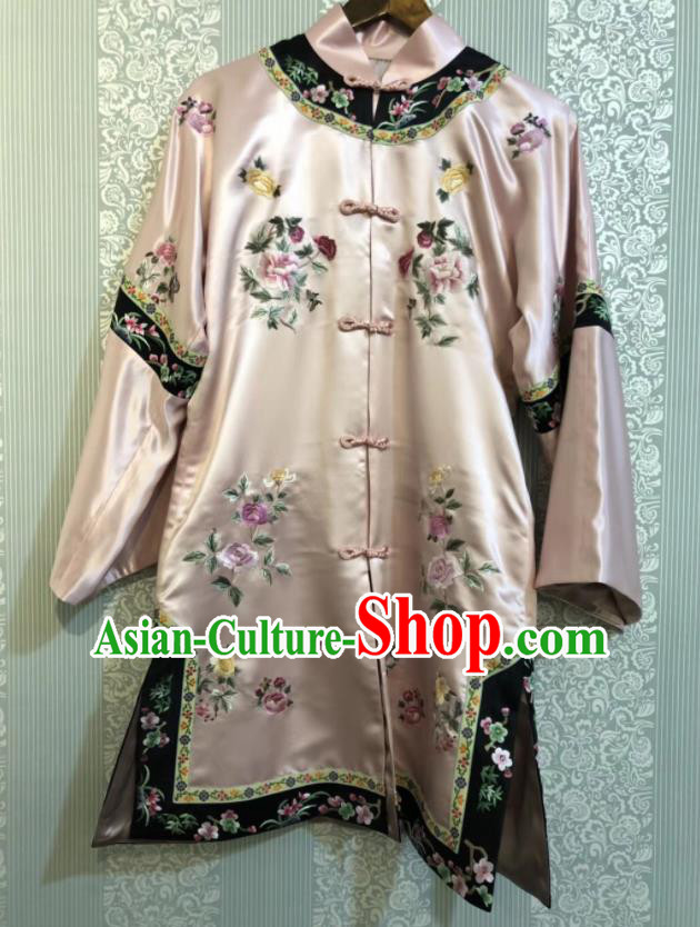 Chinese Traditional National Costume Ancient Qing Dynasty Embroidered Pink Silk Blouse for Women