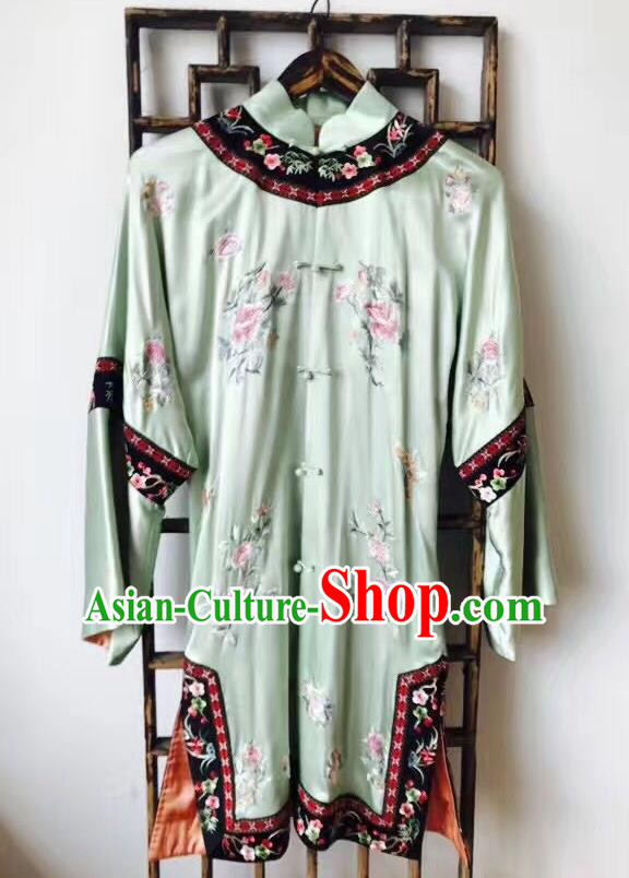 Chinese Traditional National Costume Ancient Qing Dynasty Embroidered Green Silk Blouse for Women