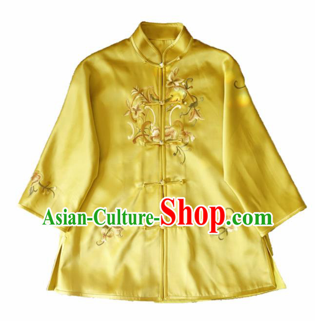 Chinese Traditional National Costume Ancient Qing Dynasty Embroidered Peony Yellow Silk Blouse for Women