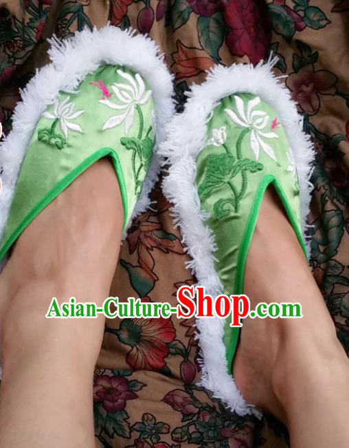Chinese Ancient Princess Embroidered Lotus Green Slippers Traditional Shoes Hanfu Shoes for Women