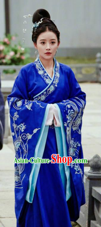 Drama Queen Dugu Chinese Traditional Ancient Hanfu Dress Sui Dynasty Princess Consort Embroidered Historical Costume and Headpiece for Women