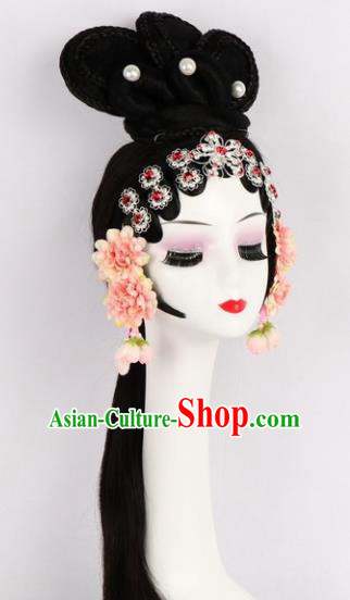 Chinese Ancient Peri Wigs Traditional Peking Opera Village Girl Wig Sheath Hair Accessories for Women