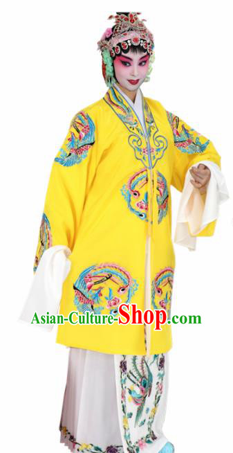 Chinese Ancient Queen Embroidered Yellow Dress Traditional Peking Opera Artiste Costume for Women