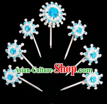 Chinese Ancient Princess Blue Crystal Hairpins Traditional Peking Opera Artiste Hair Clips Headwear for Women