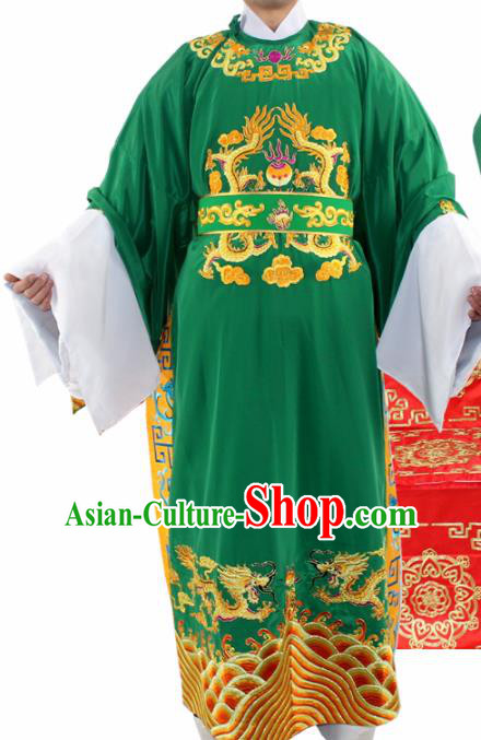 Chinese Ancient Number One Scholar Embroidered Green Robe Traditional Peking Opera Niche Costume for Men