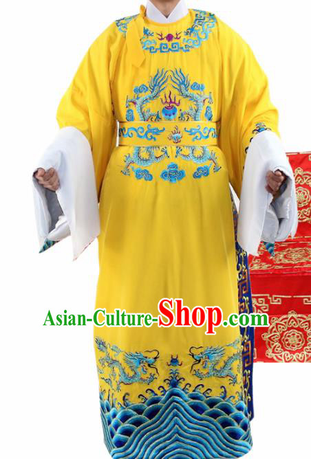 Chinese Ancient Number One Scholar Embroidered Yellow Robe Traditional Peking Opera Niche Costume for Men