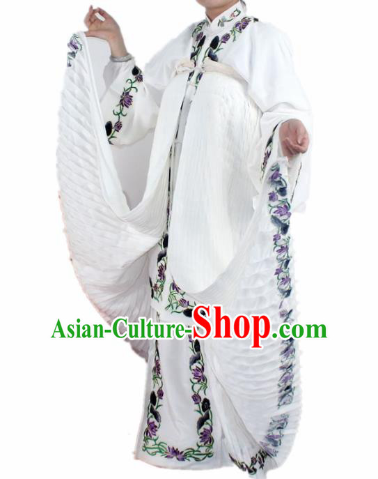 Chinese Ancient Swordswoman Embroidered White Dress Traditional Peking Opera Artiste Madam White Snake Costume for Women