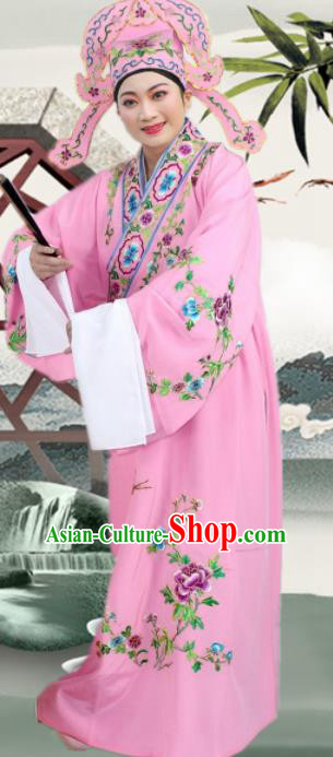Chinese Ancient Nobility Childe Pink Embroidered Robe Traditional Peking Opera Niche Costume for Men