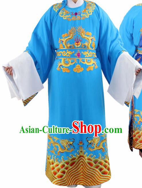 Chinese Ancient Number One Scholar Embroidered Blue Robe Traditional Peking Opera Niche Costume for Men