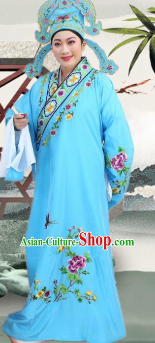 Chinese Ancient Nobility Childe Light Blue Embroidered Robe Traditional Peking Opera Niche Costume for Men