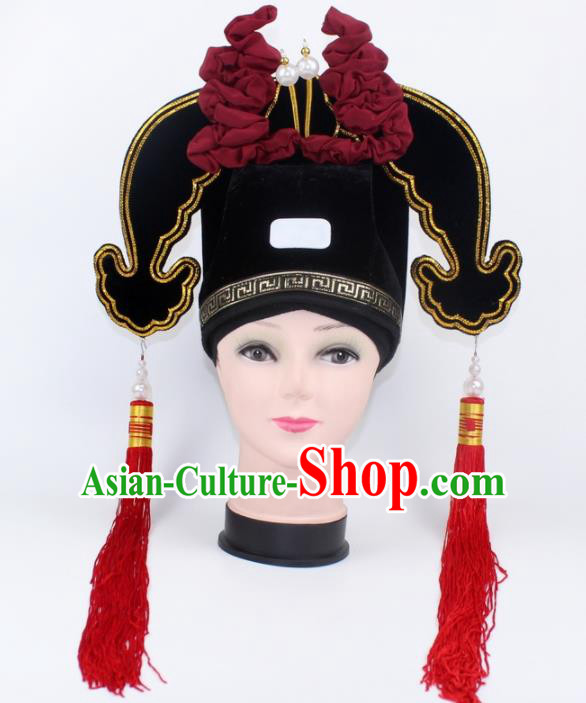 Chinese Ancient Scholar Black Hat Traditional Peking Opera Niche Headwear for Men