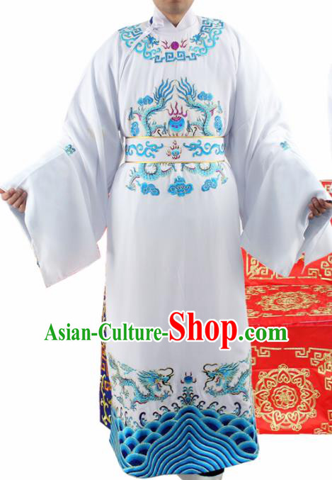 Chinese Ancient Number One Scholar Embroidered Blue Dragon Robe Traditional Peking Opera Niche Costume for Men