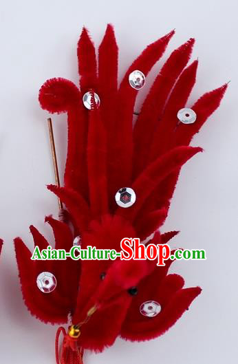 Chinese Ancient Princess Red Velvet Phoenix Hairpins Traditional Peking Opera Artiste Headwear for Women