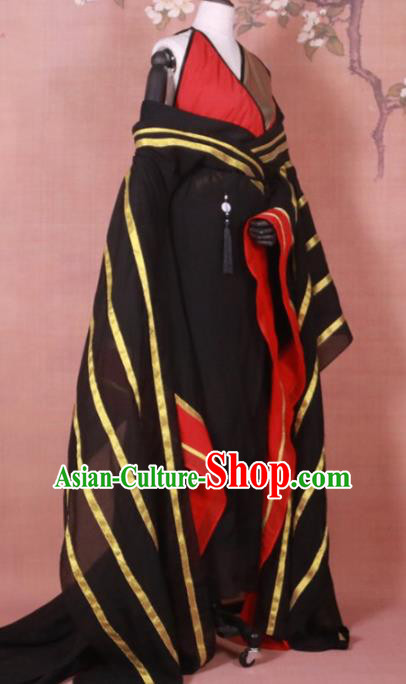 Chinese Ancient Swordswoman Black Hanfu Dress Traditional Tang Dynasty Queen Costume for Women