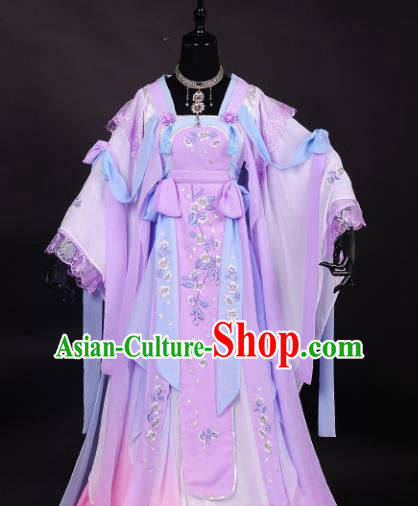 Chinese Traditional Cosplay Peri Costume Ancient Swordswoman Light Purple Hanfu Dress for Women