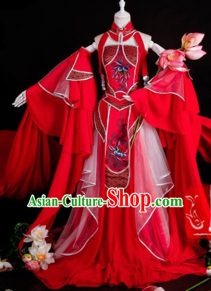Chinese Traditional Cosplay Peri Goddess Costume Ancient Swordswoman Red Hanfu Dress for Women
