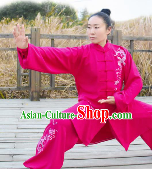Chinese Traditional Kung Fu Competition Costume Martial Arts Tai Chi Embroidered Dragon Rosy Clothing for Women
